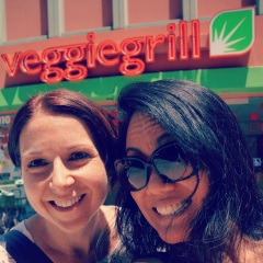 """J"" and I in front of the new Veggie Grill!"